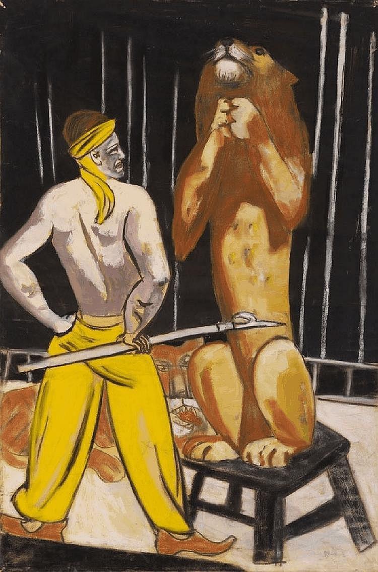 "Max Beckmann's ""Lion Tamer"" Original Watercolor"