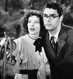 Hepburn and Carey Grant in Bringing Up Baby