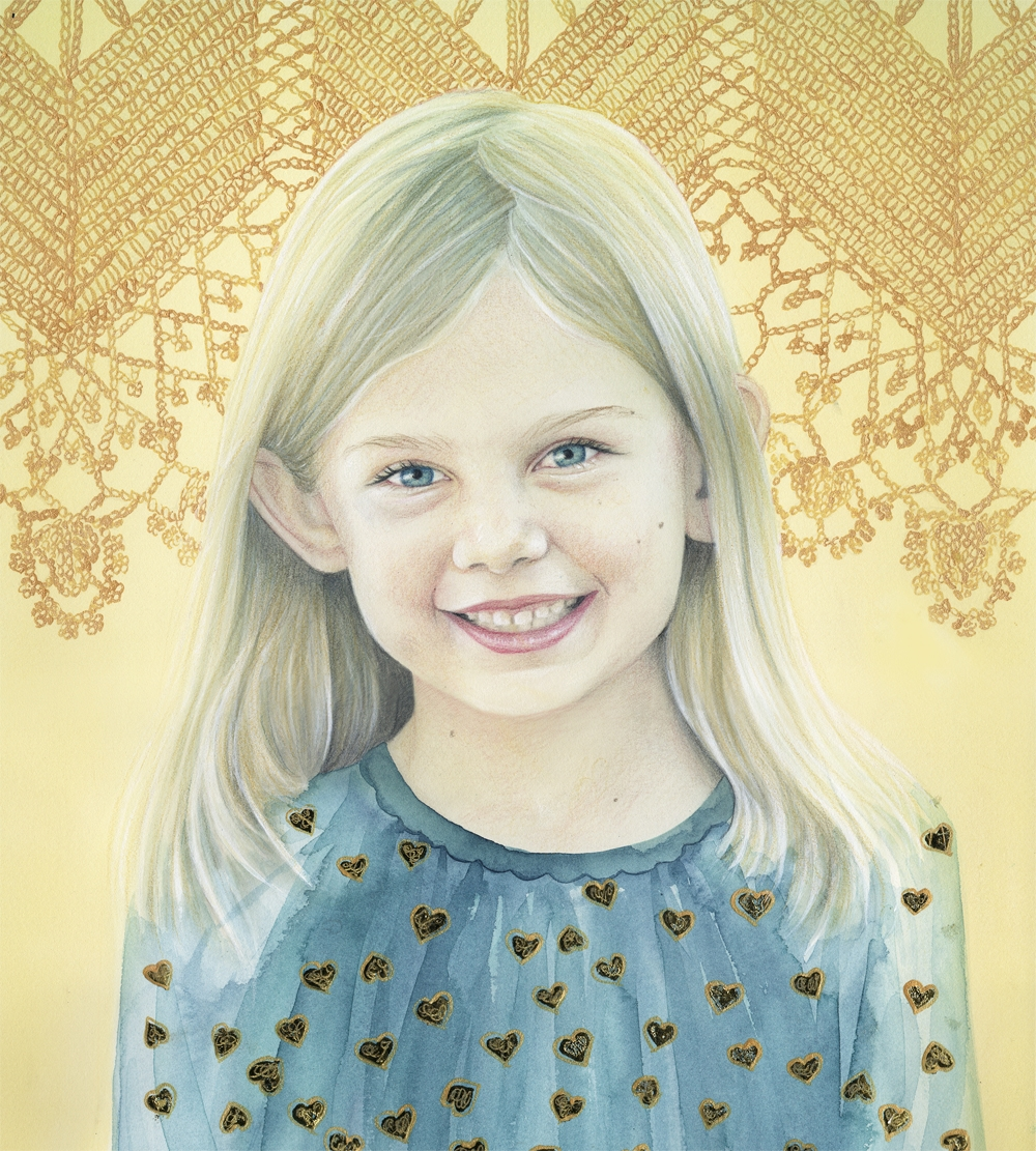 "BEC WINNEL ""Paley 7""  2014  Color pencil, water colors and gold leaf paint on paper.    http://becwinnel.com"