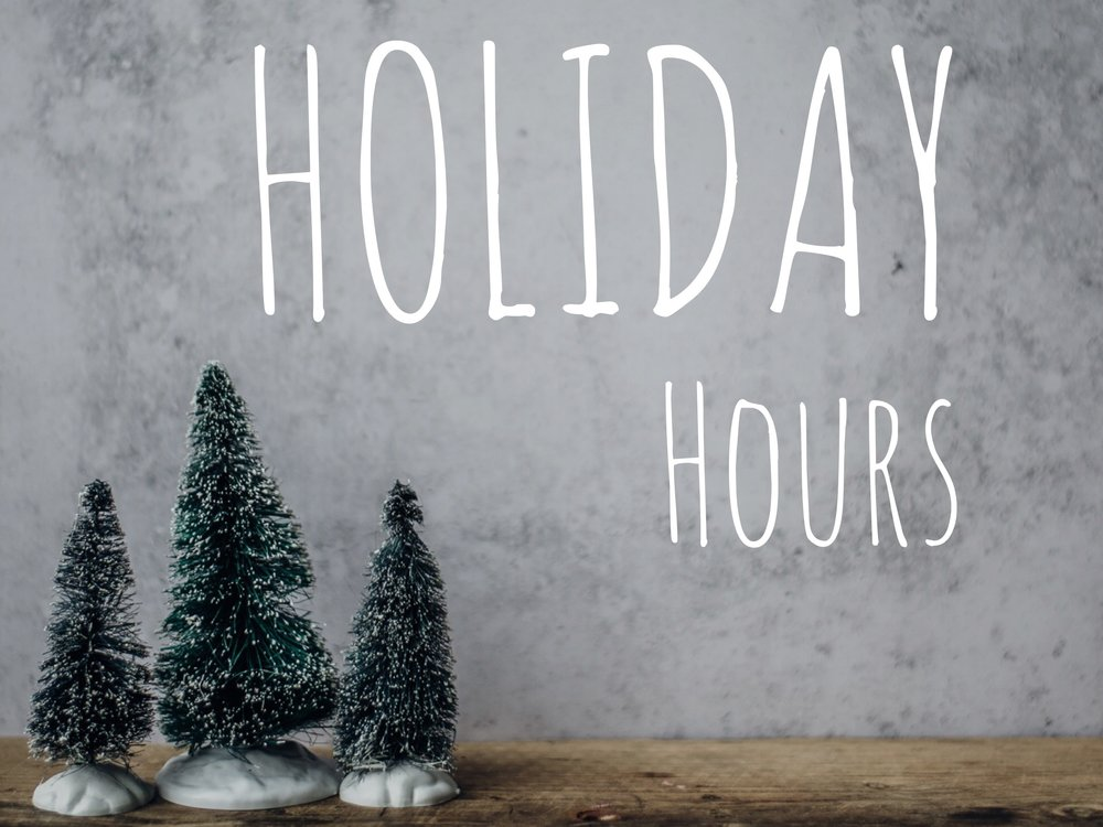 Oak Park Holiday Hours    Christmas Eve- 9am to 1 pm  Christmas Day- Closed  New Years Eve- Closed  New Years Day- Closed   Evanston Holiday Hours    Christmas Eve- 10am to 1 pm   Christmas Day- Closed  New Years Eve- Closed  New Years Day- Closed