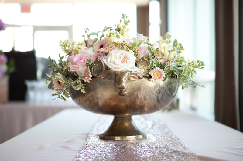 flowers in rose gold vase by party mood