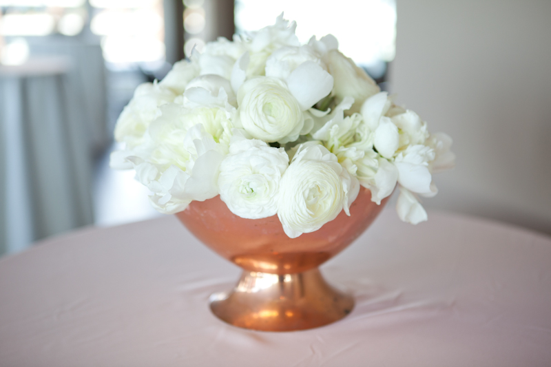 copper vase and white flowers by party mood