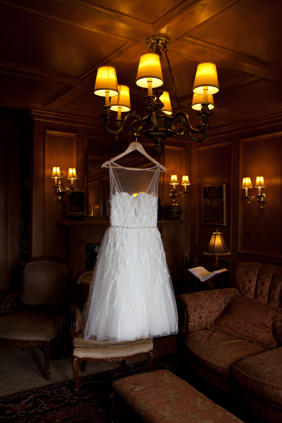 wedding dress hanging in Villa Marco Polo Inn, Victoria BC