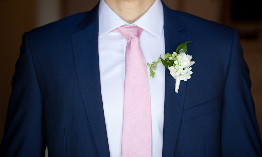 White rose boutonniere by Platinum Floral Designs