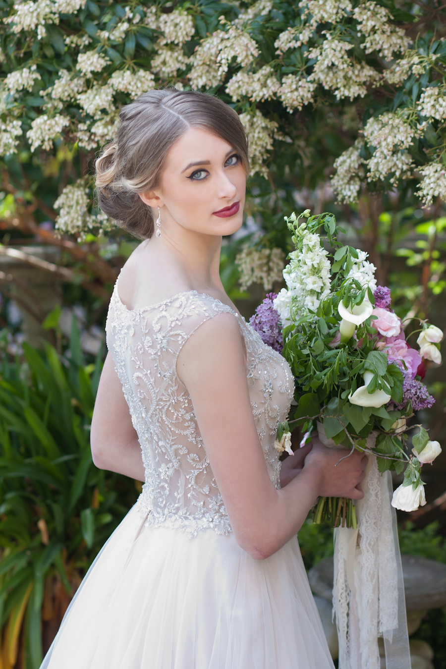 Coultish Management model in Blush Bridal dress and Sharon Rai Hair and Makeup Artistry styling