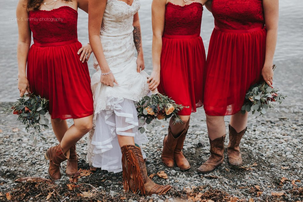 Detail of bridal bouquets and cowboy boots | Victoria BC Wedding Photographer