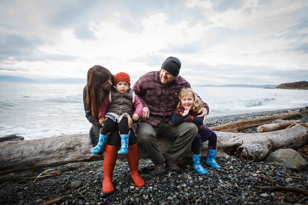 Ocean side winter family portrait | Victoria BC Family Photographer