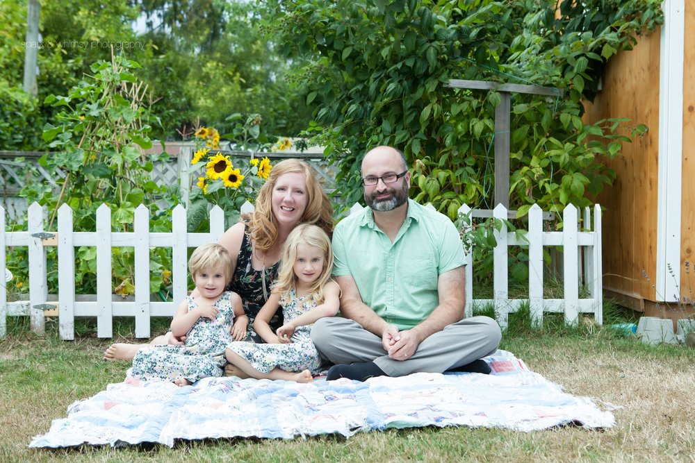 Summer family portrait in garden | Victoria BC Family Photographer