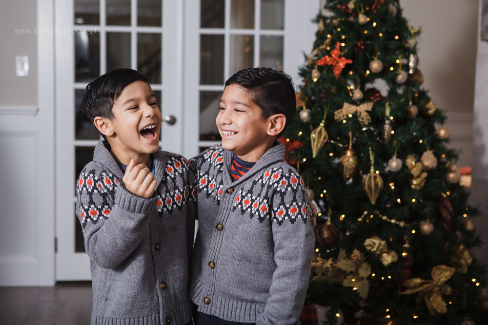 Portrait of brothers laughing at Christmas | Victoria BC Family Photographer