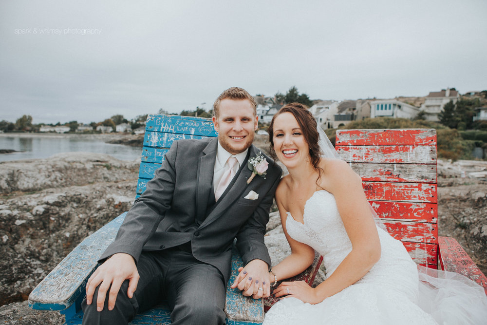 Portrait of bride and groom at McNeil Bay | Victoria BC Wedding Photographer