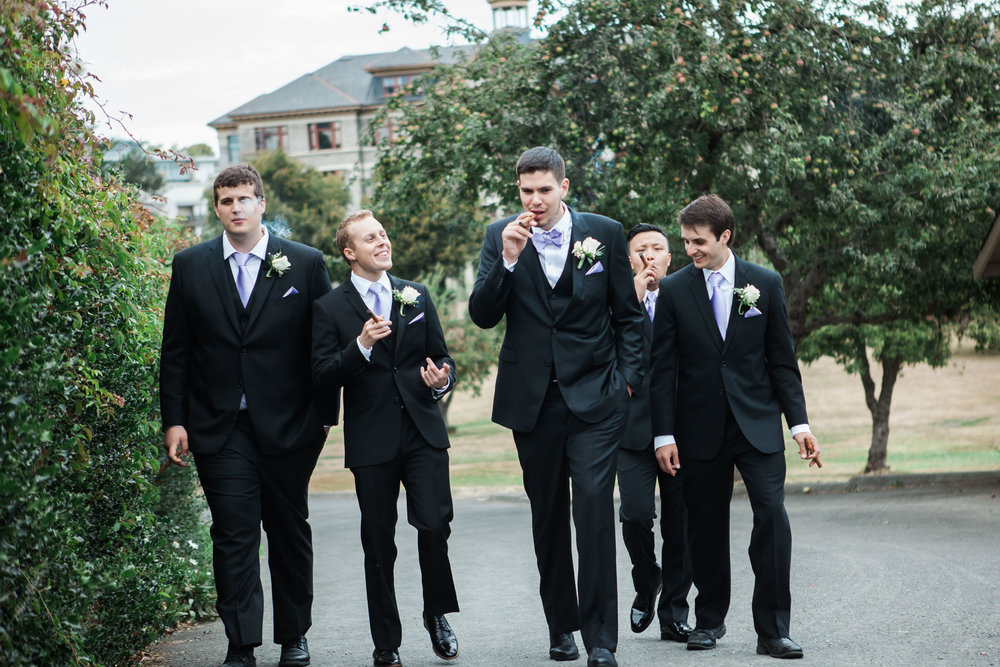 Candid groomsmen portrait | Victoria BC Wedding Photographer