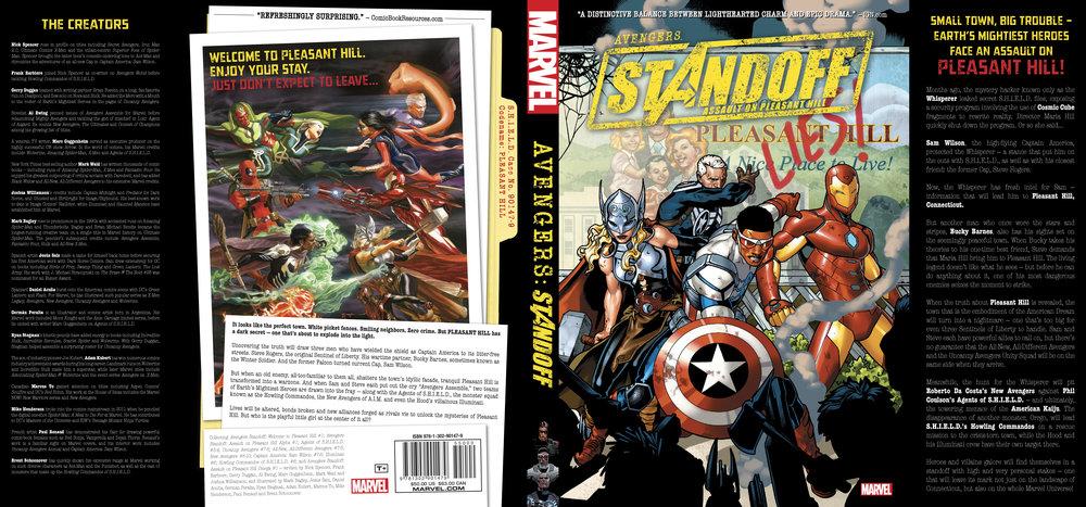 Dust jacket design for  Avengers: Standoff . Content copyright Marvel Entertainment, 2016.