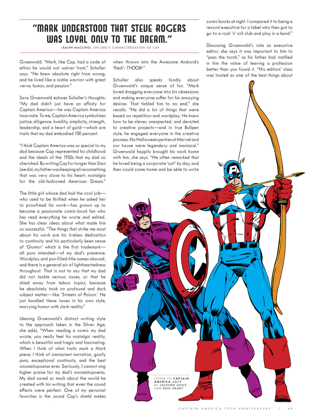 Design and layout for  Captain America 75th Anniversary Magazine . Content copyright Marvel Entertainment, 2016.