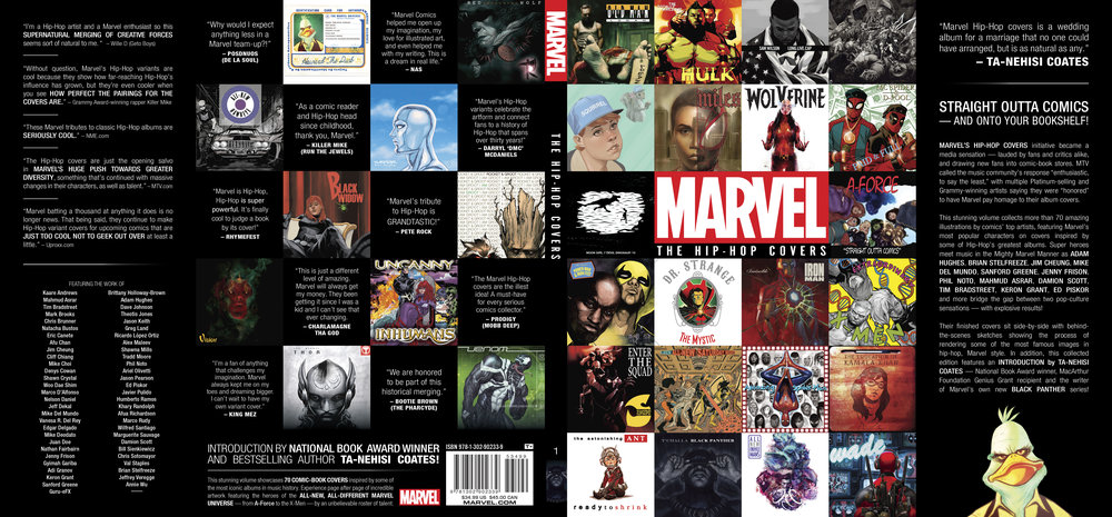 Dust jacket design for  Mavel: The Hip-Hop Covers Vol. 1 . Content copyright Marvel Entertainment, 2016.