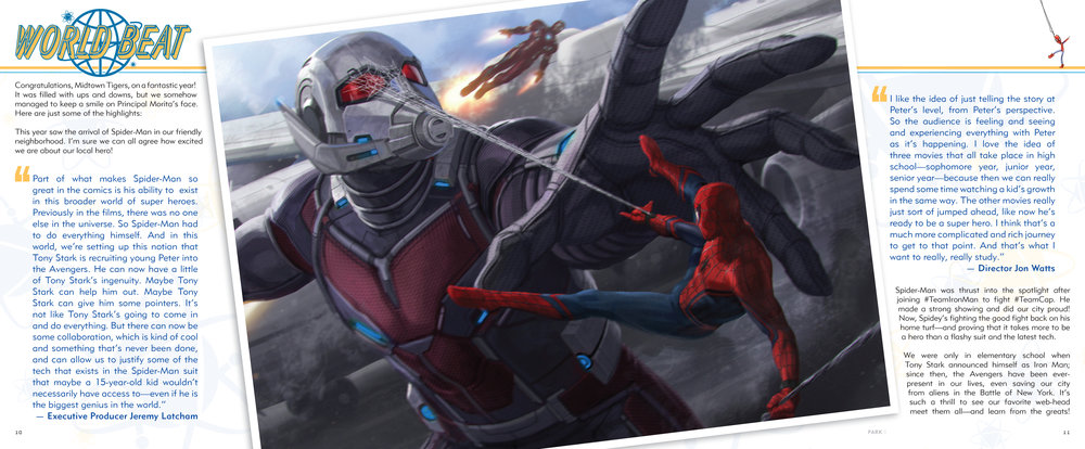 Introduction design and layout for  The Art of Marvel Studio's Spider-Man Homecoming . Content copyright Marvel Entertainment, 2017.