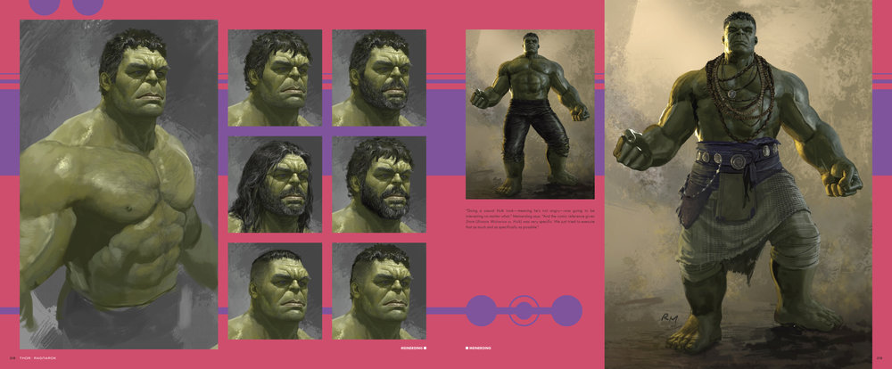Design and layout for  The Art of Marvel Studio's Thor: Ragnarok . Content copyright Marvel Entertainment, 2017.