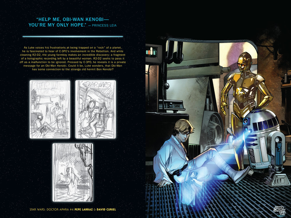 Design and layout for  Star Wars: A New Hope - The 40th Anniversary . Content copyright Marvel Entertainment, 2018.