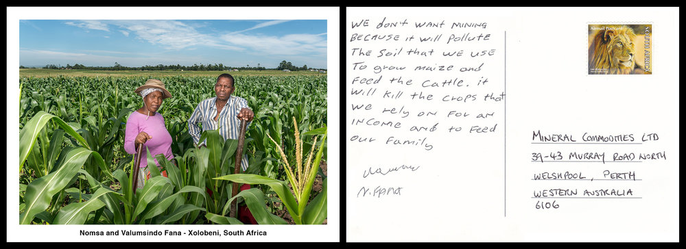 Nomsa & Valumsindo Fana  -  We don't want mining because it will pollute the soil that we use to grow maize and feed the cattle. It will kill the crops that we rely on for an income and to feed our family.
