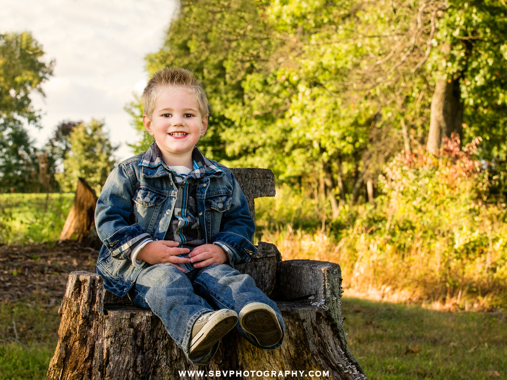 A little boy sits on a tree stump and smiles for the camera with fall foliage in the background.