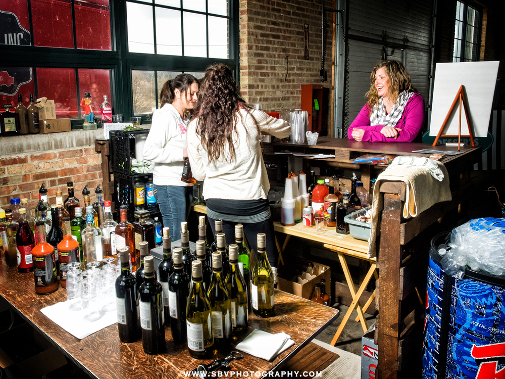 The wine bar at the Hunt and Gather event in Crown Point, Indiana.