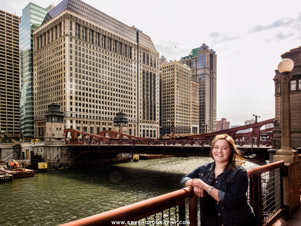 Chesterton High School Senior poses in front of the Lasalle Street Bridge in Chicago.