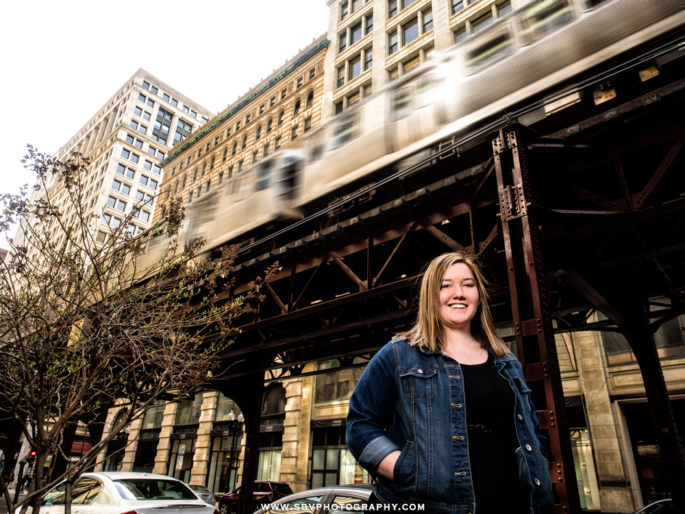 The L train whizzes by on the overhead platform in this high school senior photo taken in Chicago.