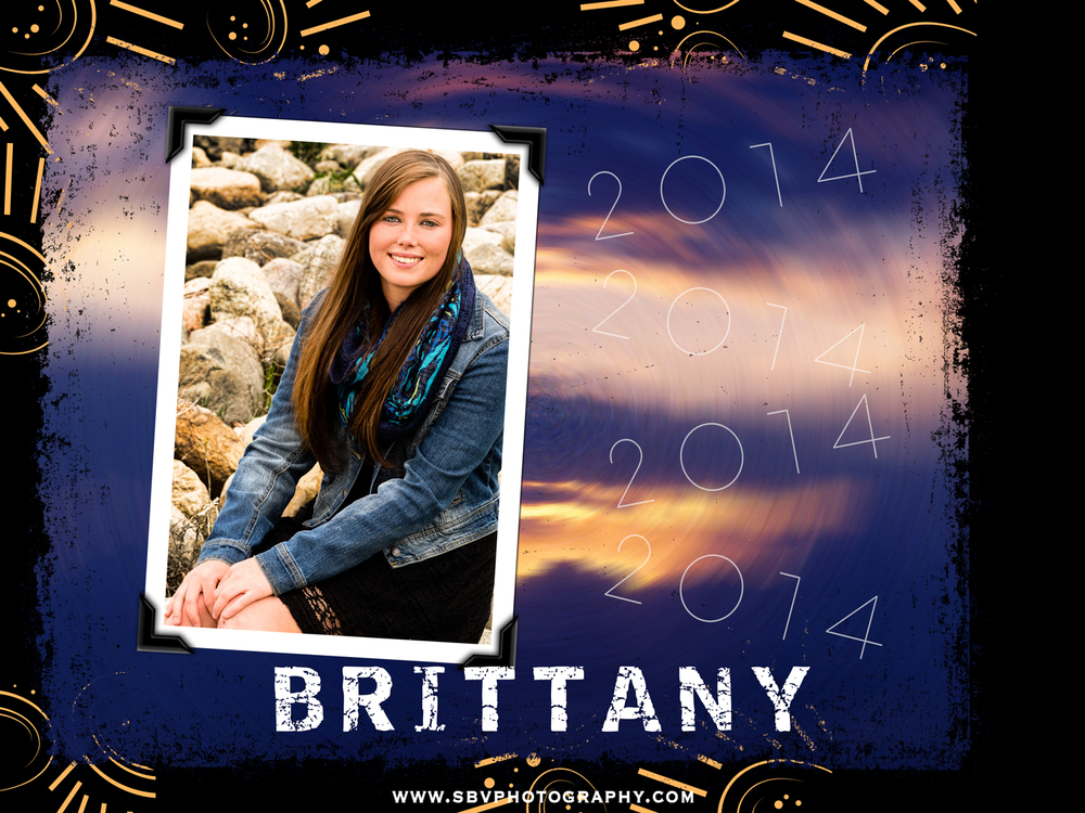 Custom designed senior picture photo book front cover.