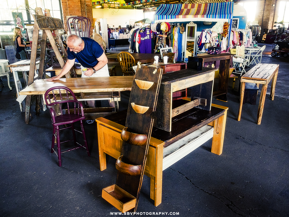 Handcrafted wood furniture at Lake County Fairgrounds in Crown Point, Indiana.