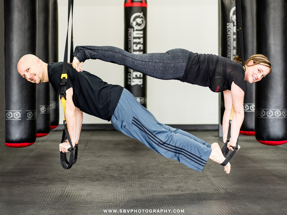 A couple works out at Hybrid Athletics in Portage, Indiana during a magazine photo shoot.