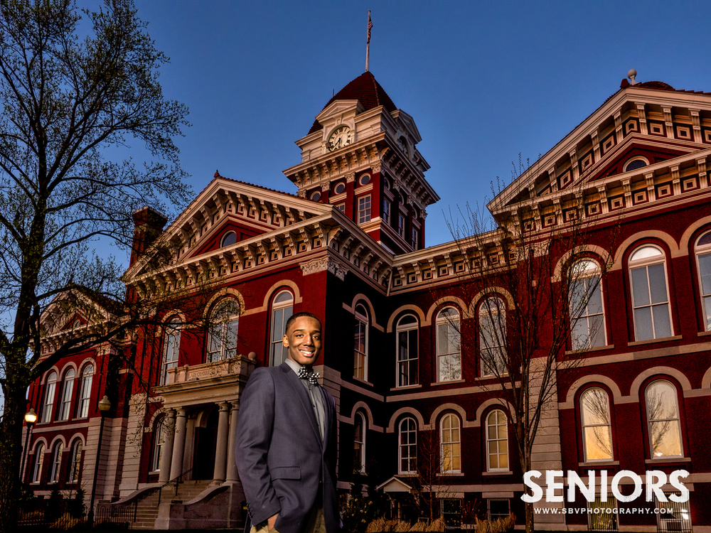 Senior picture in front of the Old Crown Point Courthouse