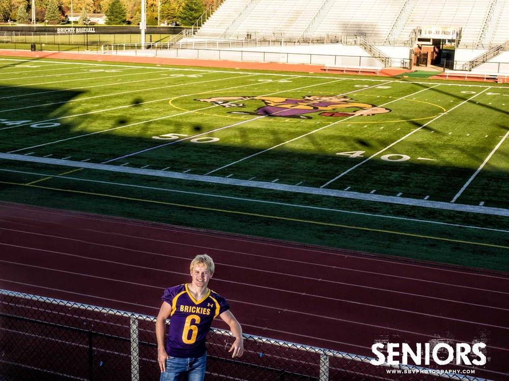 A Hobart High School senior picture at the Brickyard Stadium.