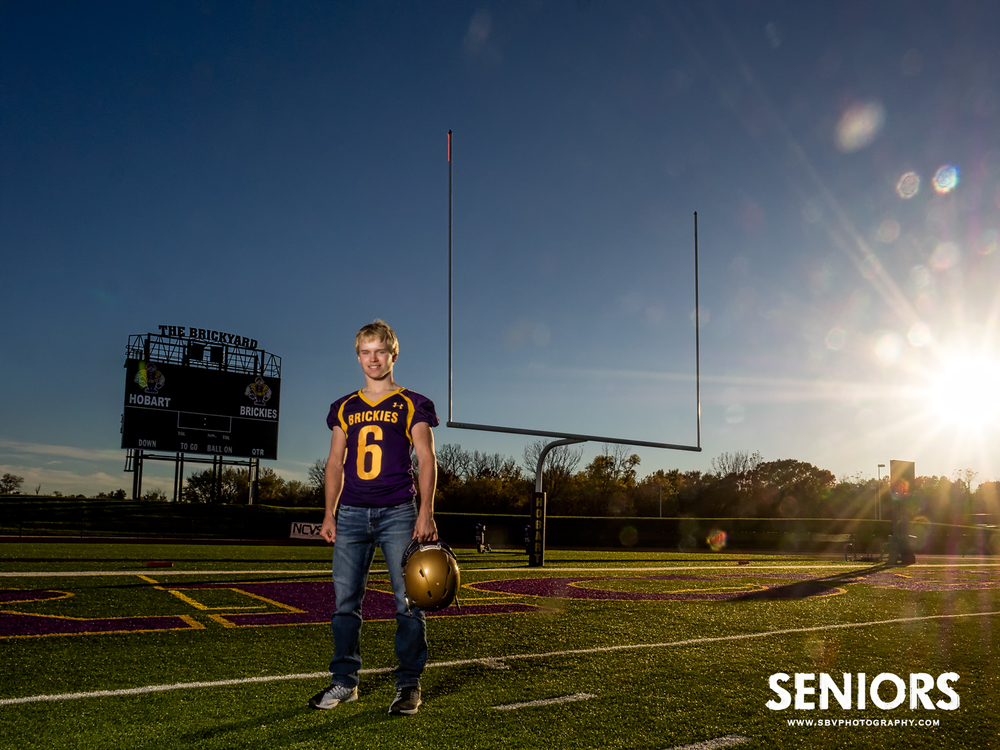 Hobart Brickie cornerback senior picture at the goal post.