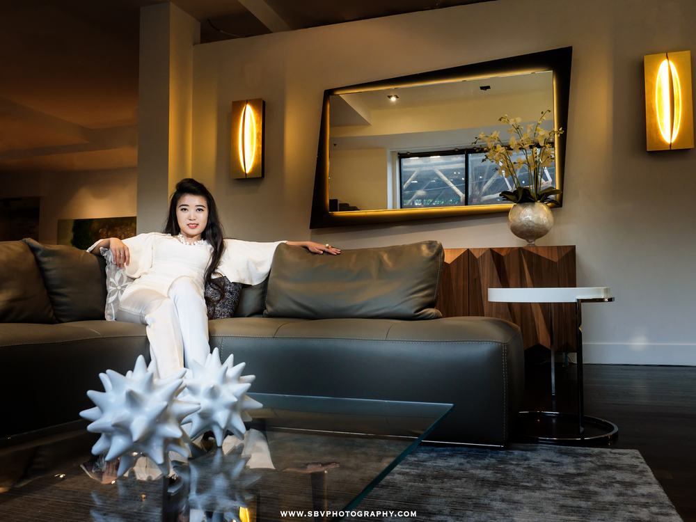 A business woman portrait at Moderne Living furniture store in downtown Chicago.