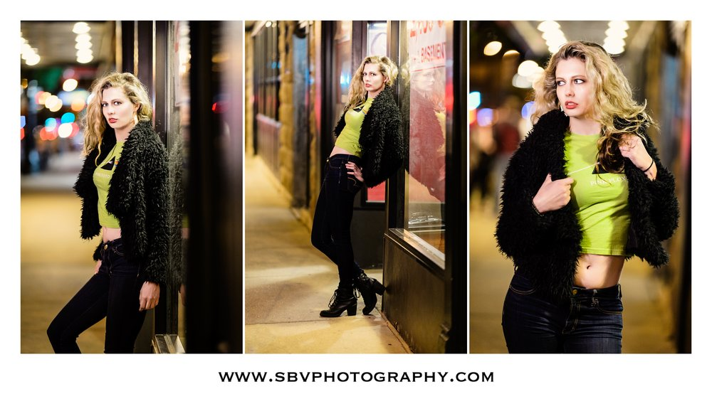 City life portraits in Chicago at night.