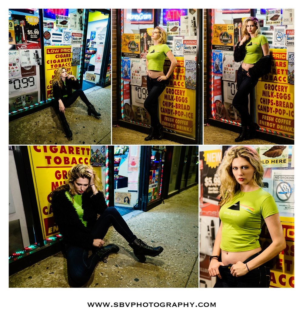Grungy city lifestyle portraits at night in Chicago.