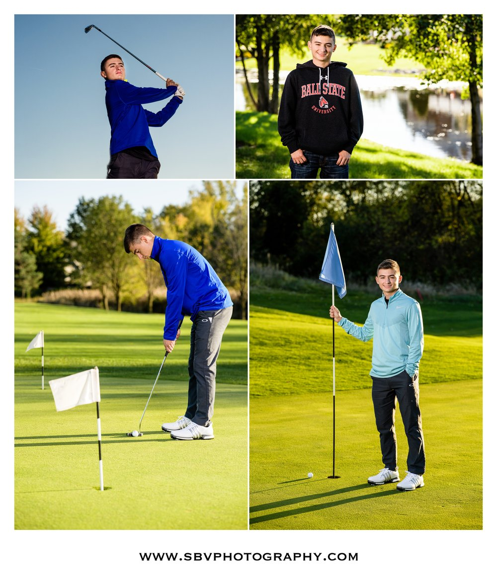 Golf themed senior photos at White Hawk Country Club.