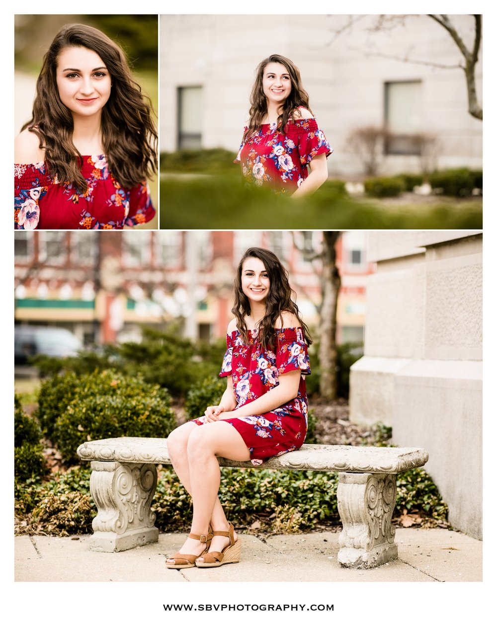 Senior portraits in front of the courthouse in downtown Valparaiso.
