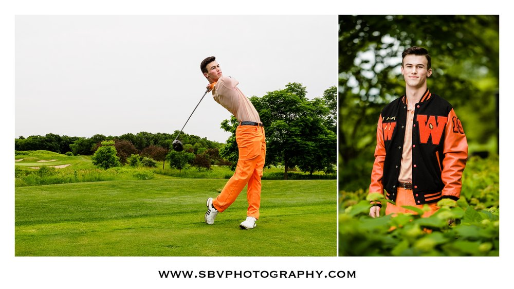 Senior portraits on the golf course.