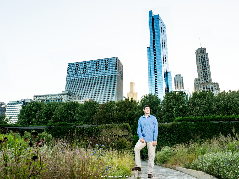 Hebron high school senior in Lurie Garden in Chicago.