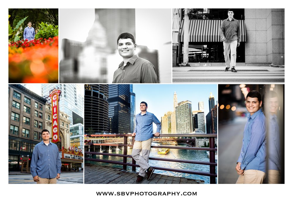 A collage of senior photos in downtown Chicago.