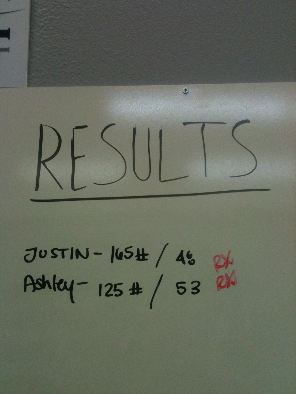 5/16 WOD, Great job Justin and Ashley!