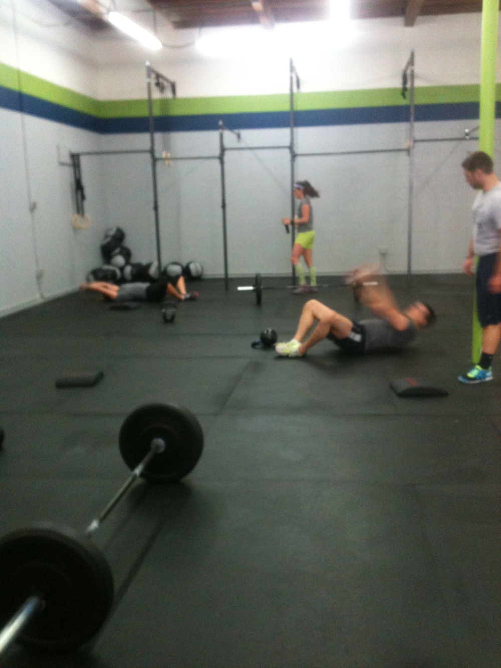 Class working hard to complete the brutal WOD