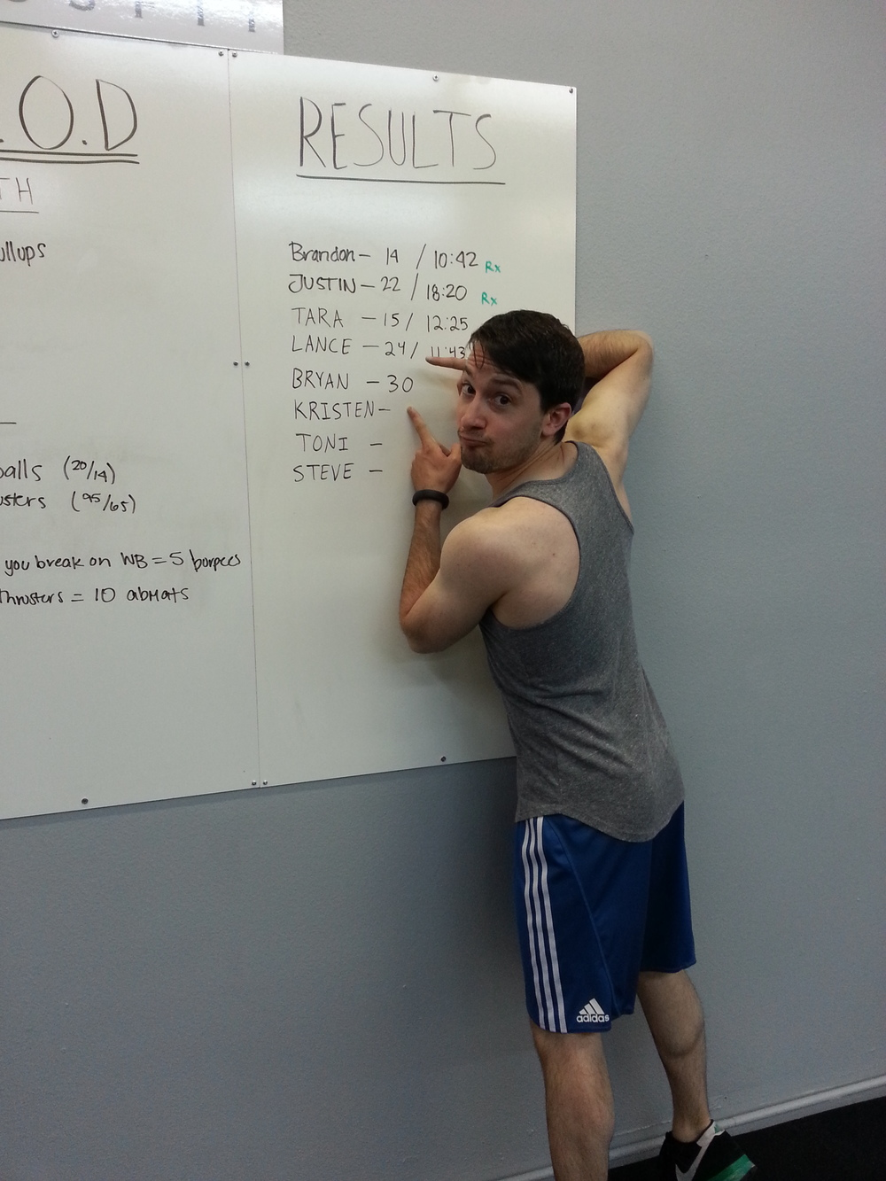 Bryan with the most pullups (30 reps!). Great job!