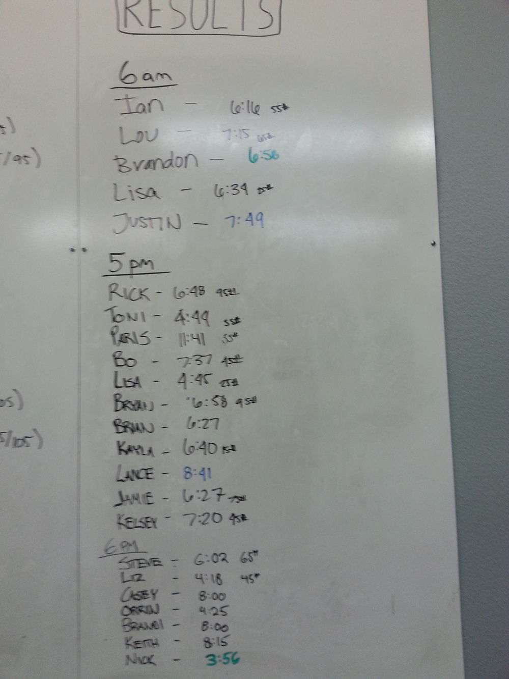 Awesome Times in today's WOD!