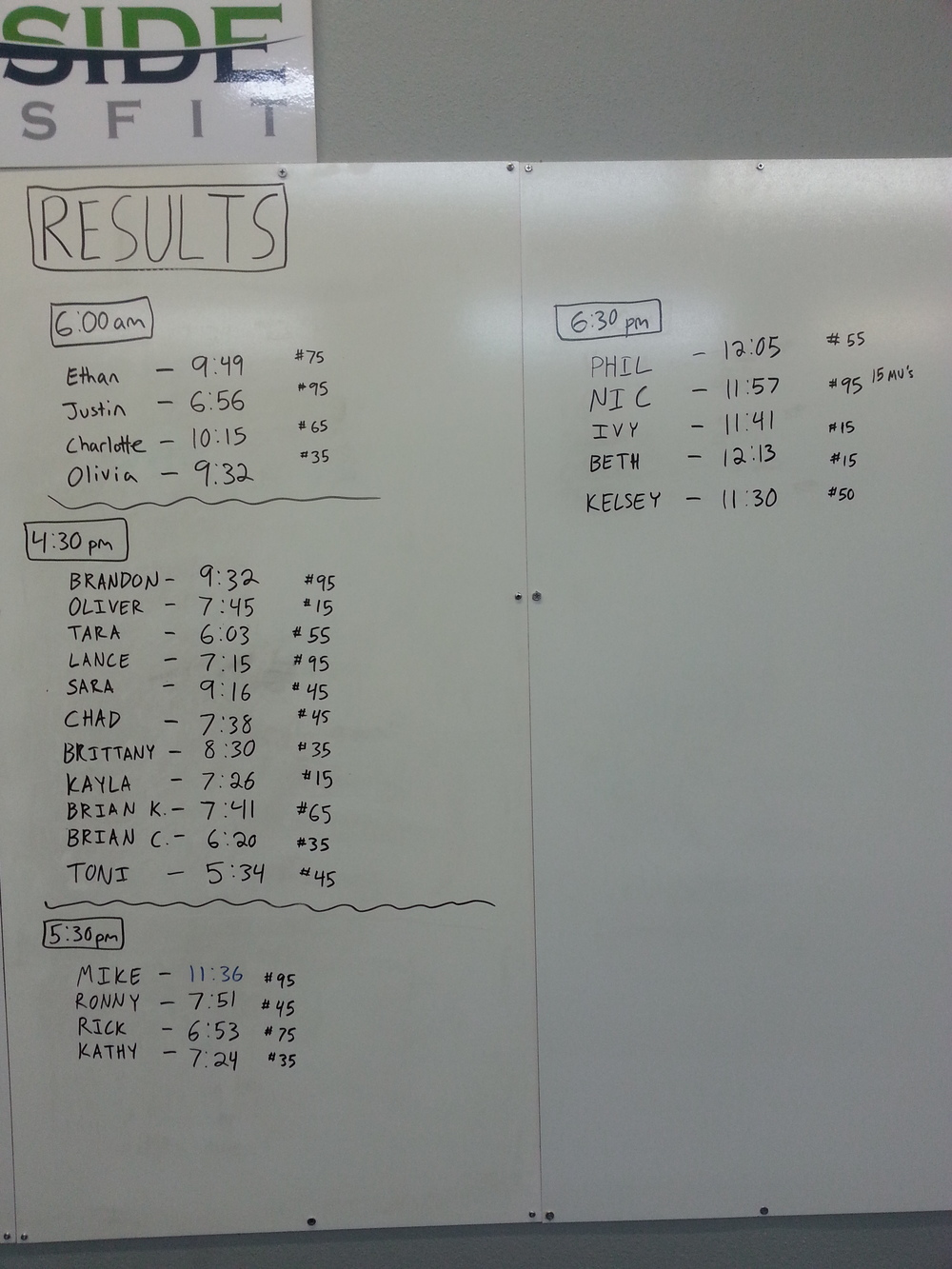 Times from the 7/30 WOD
