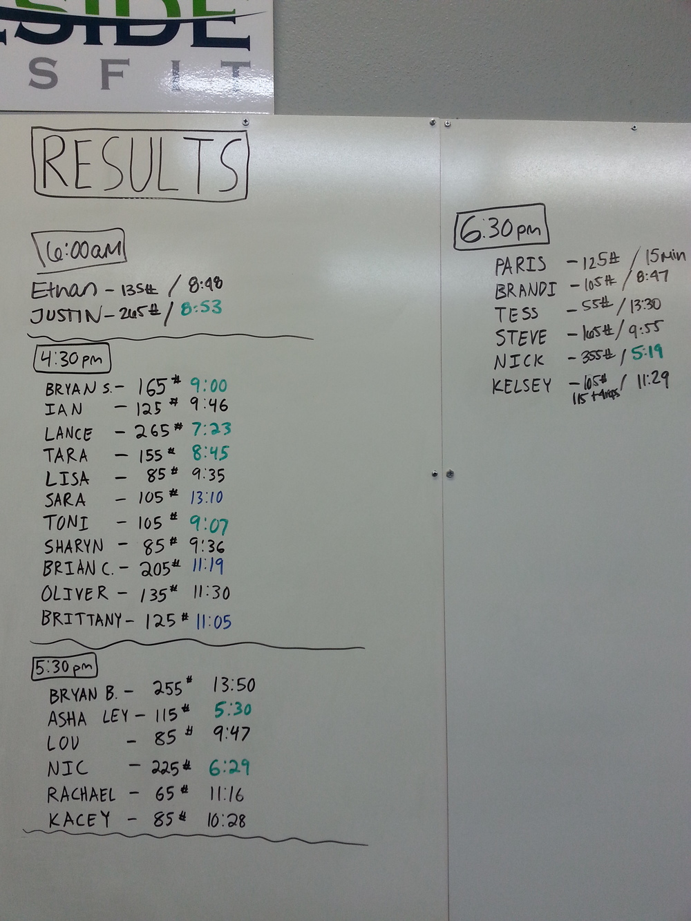 Results from 7/31