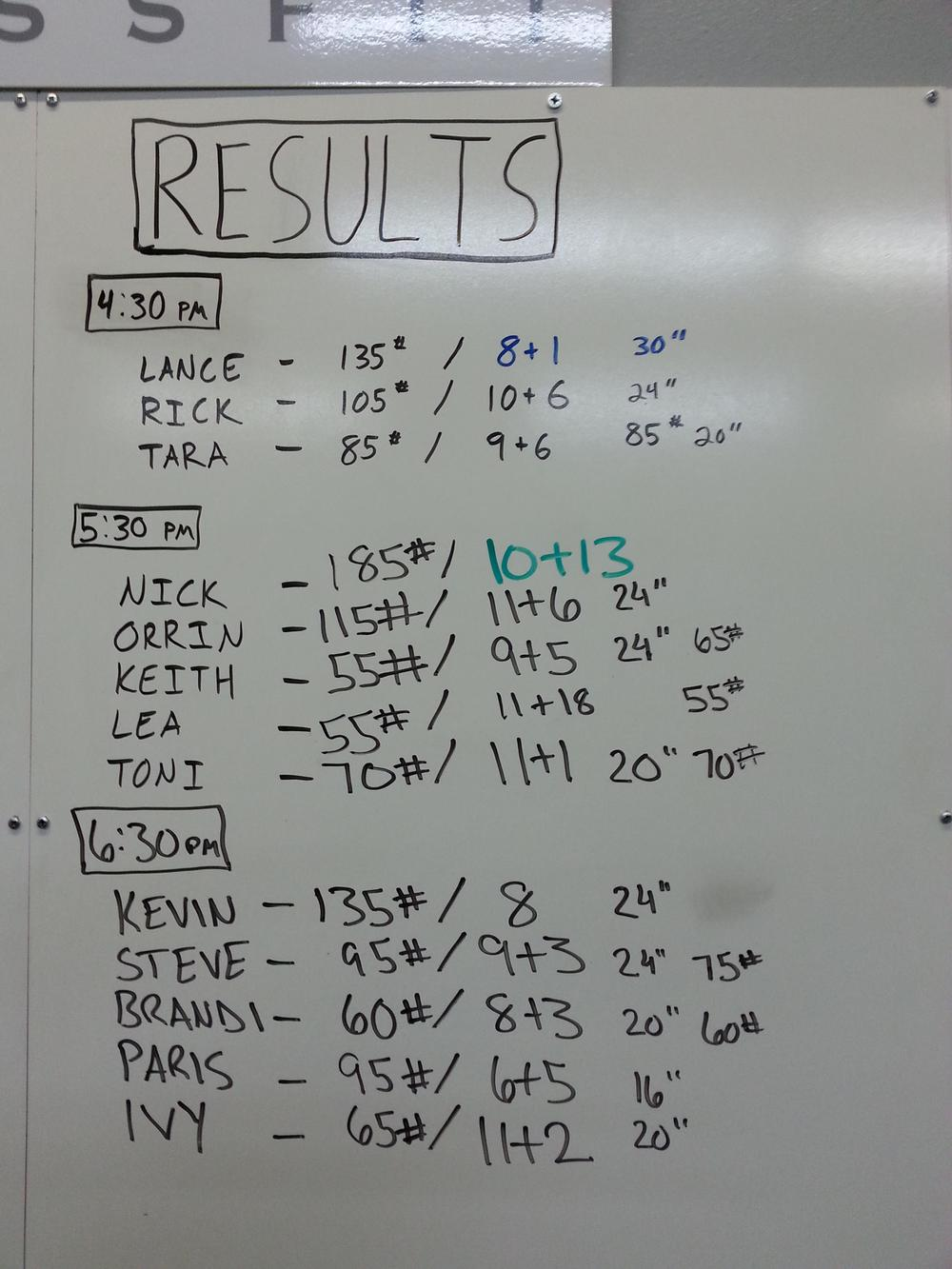Results from 9/26!