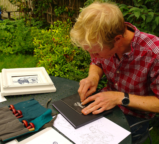 carving a lino cut in my back garden for a commission from green king breweries.