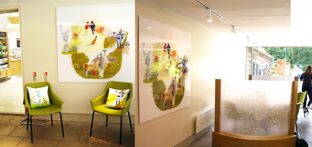 I was commissioned by Anglesey Abby a National Trust property in Cambridgeshire to create an illustration of the property and the grounds through the seasons. It was a really great commission and this week the illustration has been hung in the reception area and parts of the illustration have been used to decorate cushions also in the reception.