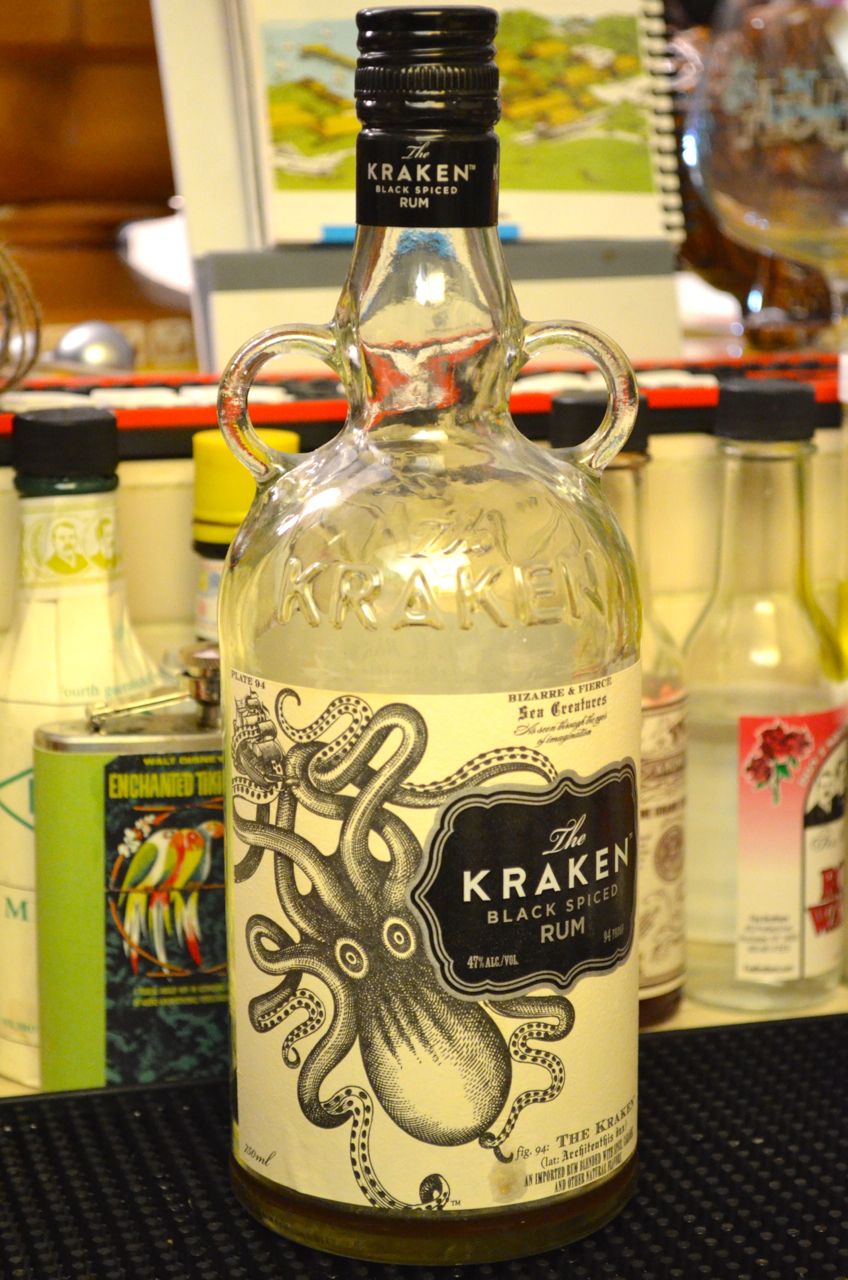 Empty Kraken spiced rum bottle.
